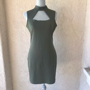 Olive Green Ribbed Bodycon Crocker Dress L